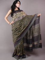Black Yellow Hand Block Printed in Natural Vegetable Colors Chanderi Saree With Geecha Border - S03170312
