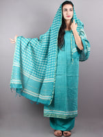 Sea Green White Hand Block Printed Chanderi Unstitched Kurta & Chanderi Dupatta With Cotton Salwar - S1628005