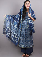 Indigo White Hand Block Printed Chanderi Unstitched Kurta & Chanderi Dupatta With Cotton Salwar - S1628006