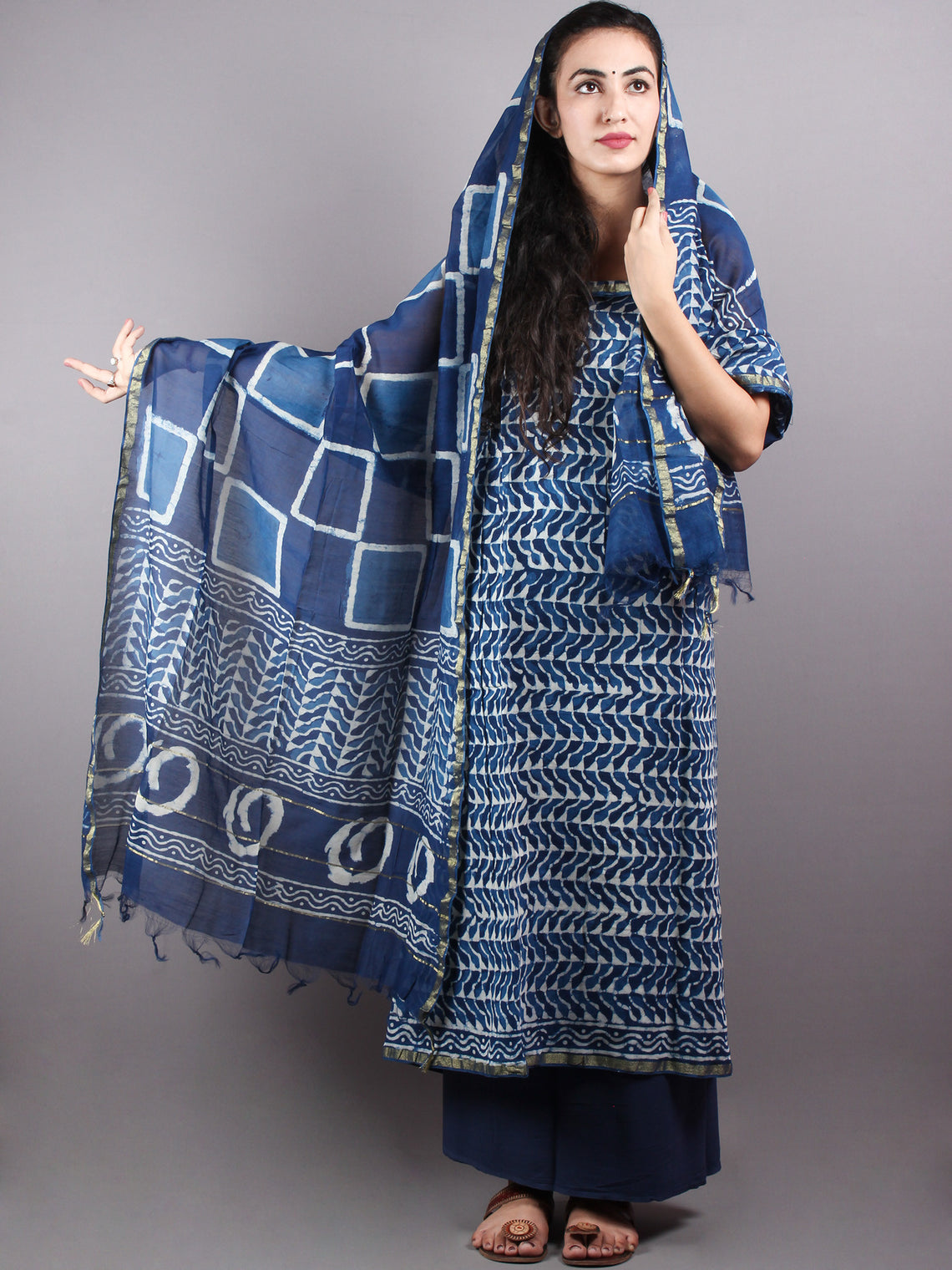 Indigo White Hand Block Printed Chanderi Unstitched Kurta & Chanderi Dupatta With Cotton Salwar - S1628007