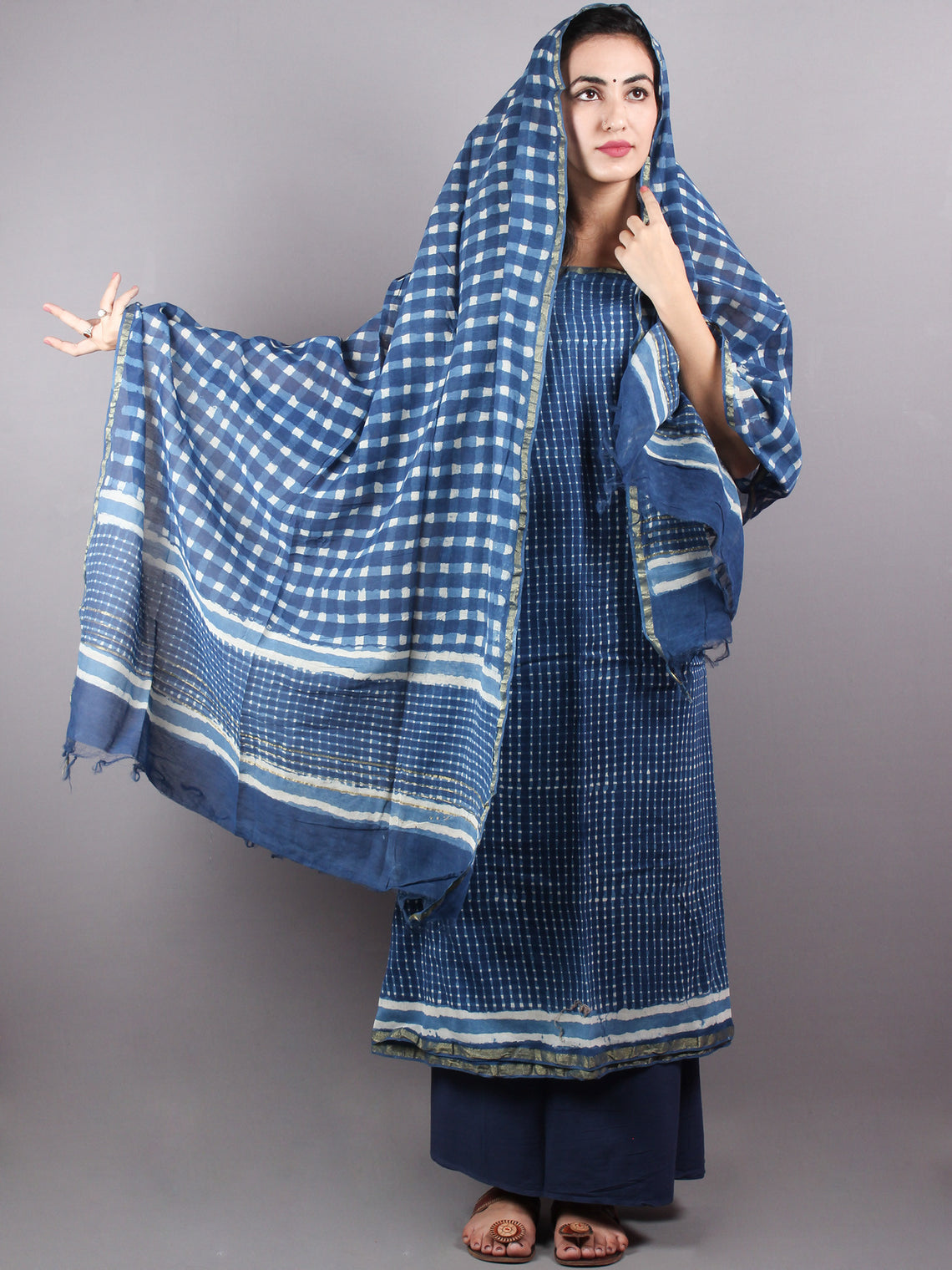Indigo White Hand Block Printed Chanderi Unstitched Kurta & Chanderi Dupatta With Cotton Salwar - S1628011