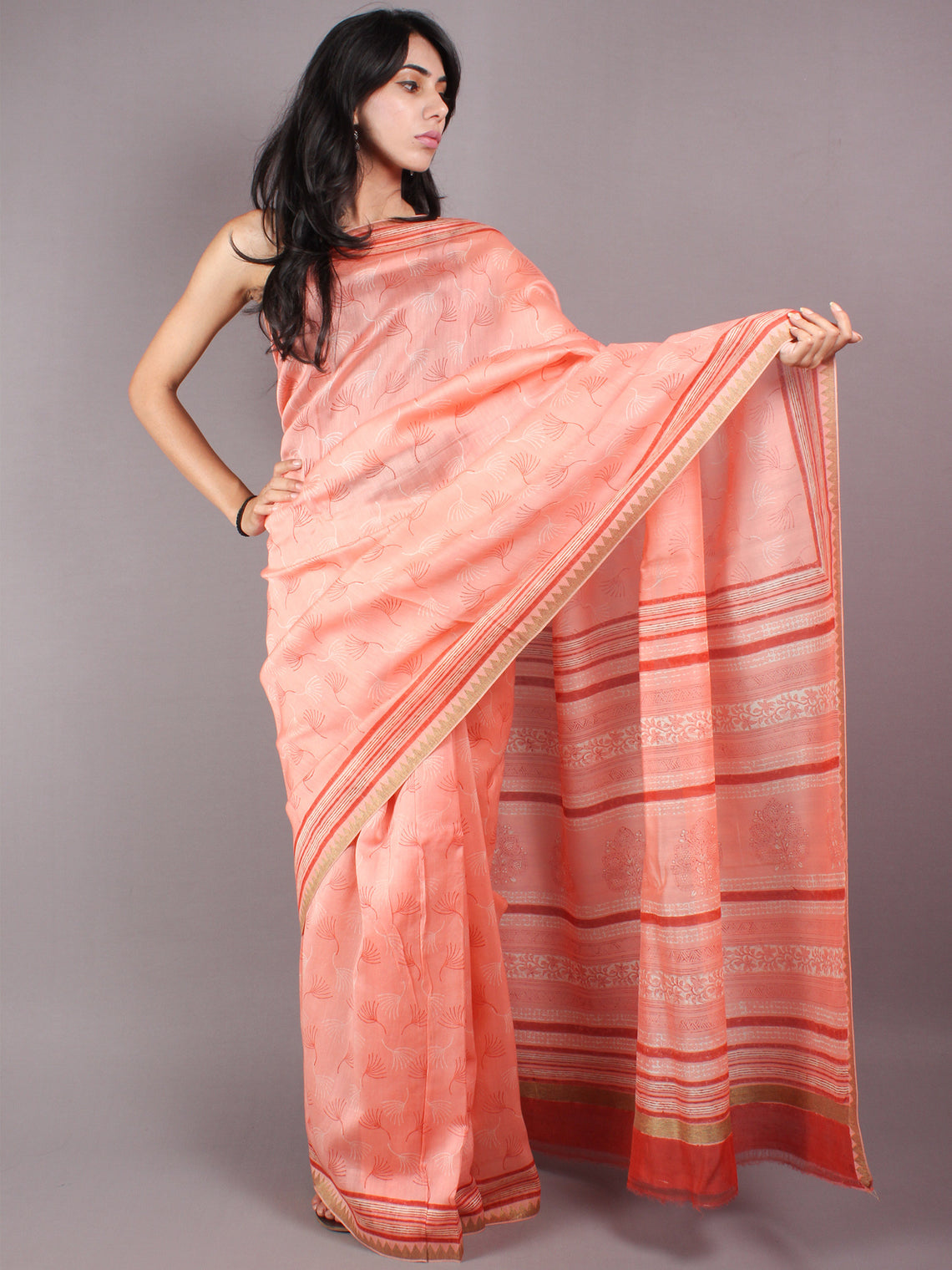 Peach Red Beige Hand Block Printed in Natural Vegetable Colors Chanderi Saree With Geecha Border - S03170321
