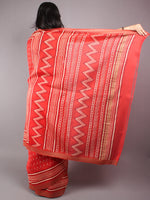 Maroon Beige Hand Block Printed in Natural Vegetable Colors Chanderi Saree With Geecha Border - S03170309