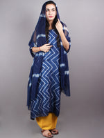 Indigo White Hand Block Printed Chanderi Unstitched Kurta & Shiffon Dupatta With Yellow Cotton Salwar - S1628017