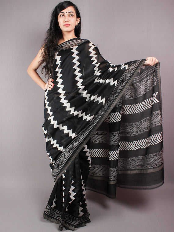 Black White Leharia Hand Block Printed in Natural Vegetable Colors Chanderi Saree With Geecha Border - S03170320
