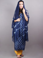 Indigo White Hand Block Printed Chanderi Unstitched Kurta & Shiffon Dupatta With Yellow Cotton Salwar - S1628019