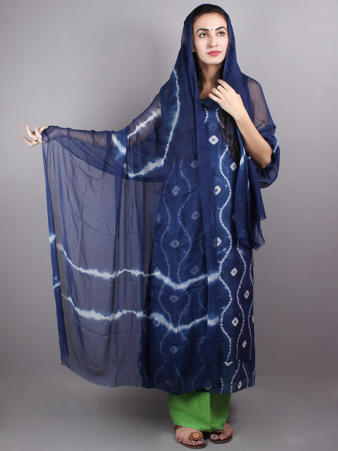Indigo White Hand Block Printed Chanderi Unstitched Kurta & Shiffon Dupatta With Mint Green Cotton Salwar - S1628020