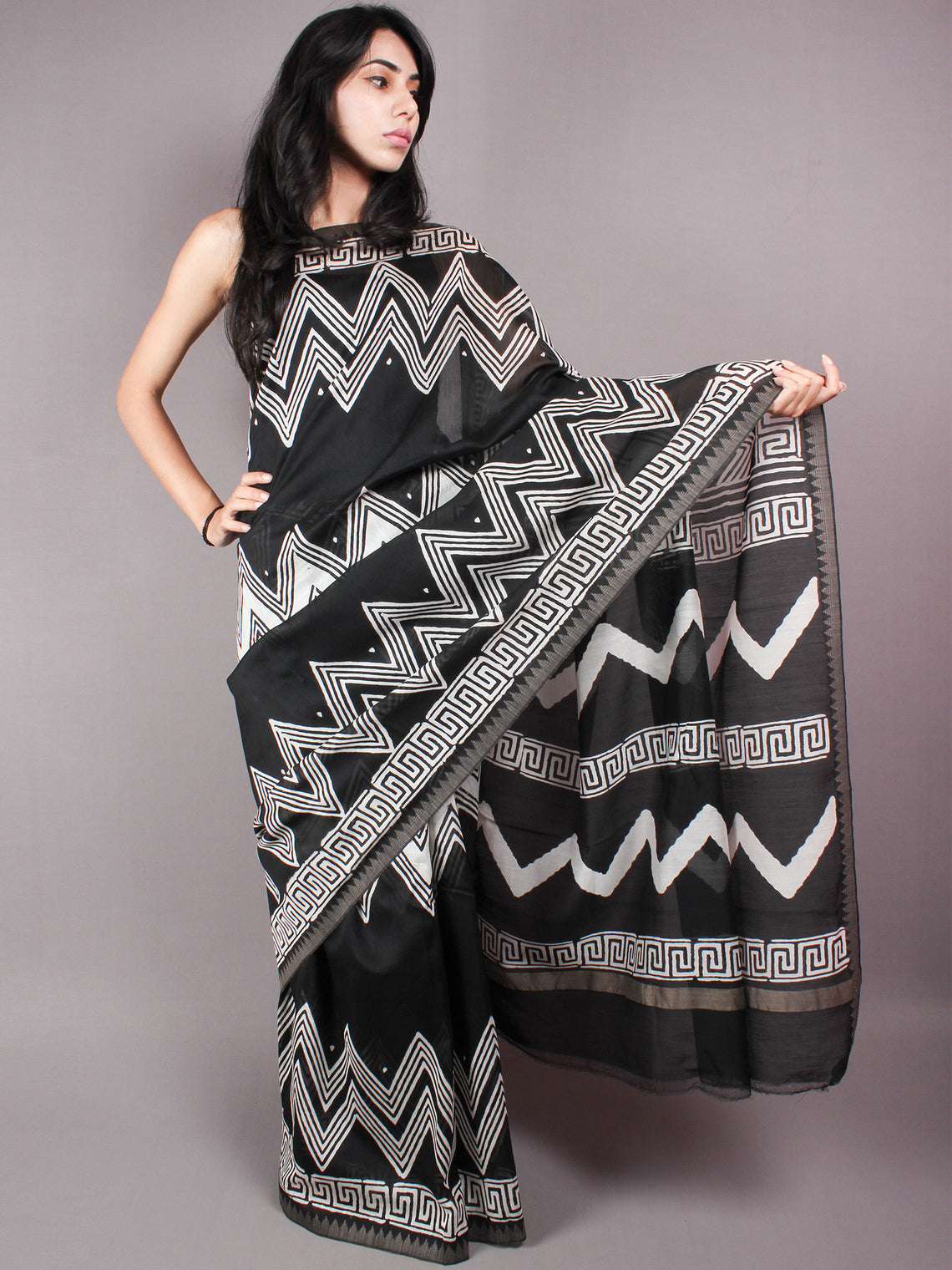 Black White Leharia Hand Block Printed in Natural Vegetable Colors Chanderi Saree With Geecha Border - S03170322