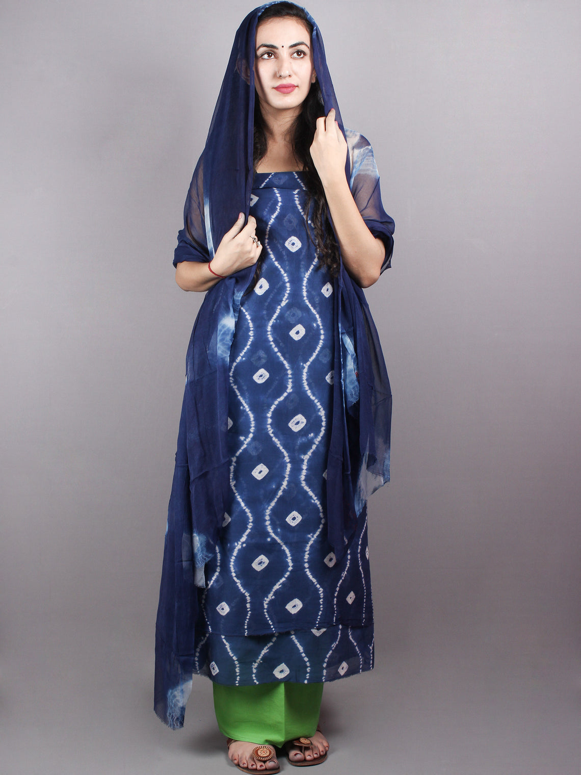 Indigo White Hand Block Printed Chanderi Unstitched Kurta & Shiffon Dupatta With Mint Green Cotton Salwar - S1628021