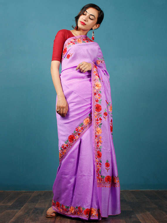 Pastel Lavender Red Green Aari Embroidered Bhagalpuri Silk Saree From Kashmir  - S031703052