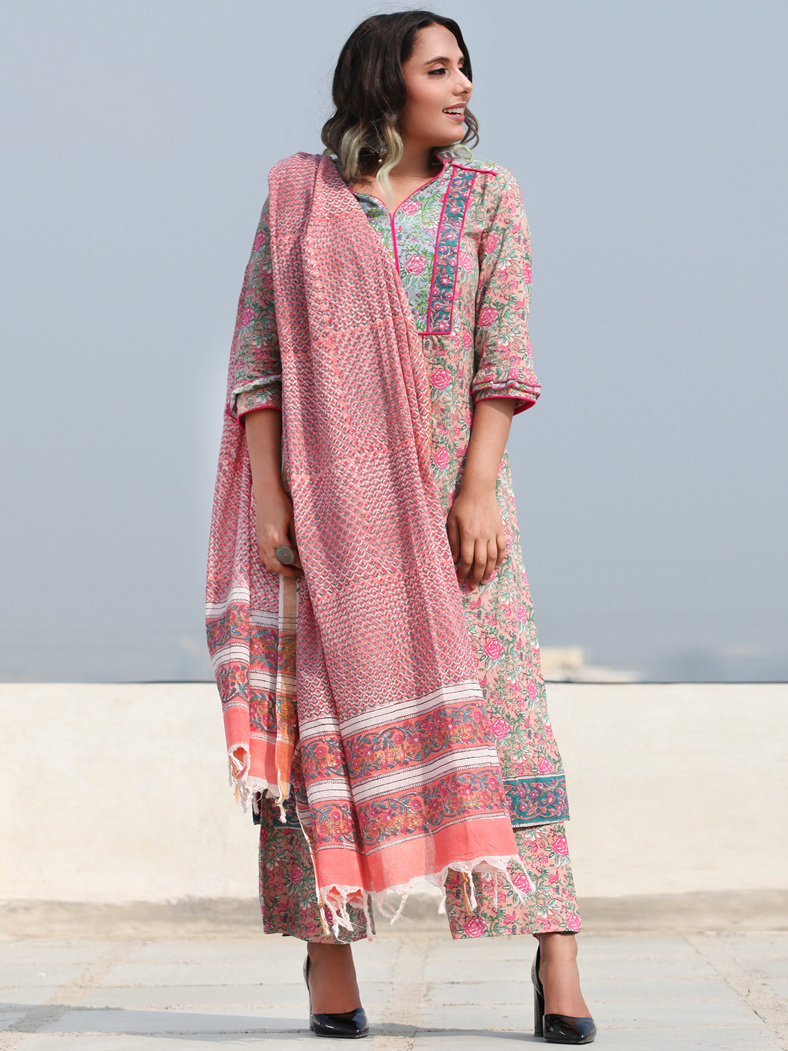 Rozana Shama - Set of Kurta Pants & Dupatta - KS152A2481D