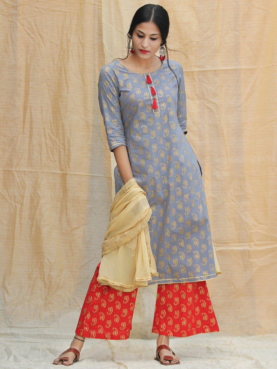Nur Jahan - Block Gold Printed Kurta Palazzo Set With Dupatta - SS01FYYYY