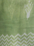 Pastel Green Ivory Hand Block Printed Kota Doria Saree in Natural Colors - S031703106