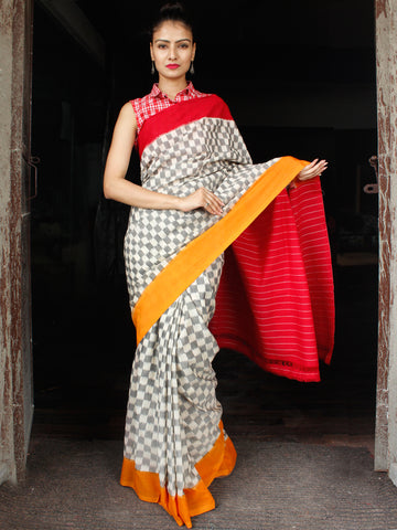 Ivory Grey Red Orange Double Ikat Handwoven Cotton Saree With Ganga Jamuna Border - S031703648