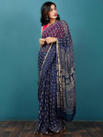Indigo Ivory Hand Block Printed Chiffon Saree with Zari Border - S031702781