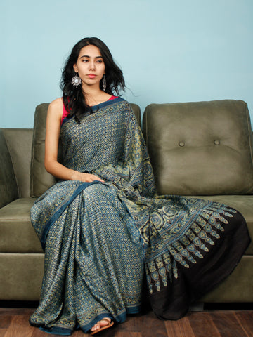 Indigo Green Black Ajrakh Hand Block Printed Modal Silk Saree in Natural Colors - S031703348