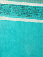 Mint Green Bagru Hand Block Printed Chanderi Saree With Geecha Border - S03170293