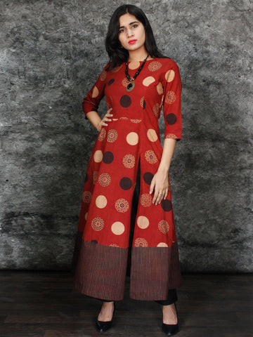 Rust Black Beige Hand Printed Ajrakh Cotton Long Kurta With Front Slit - K60F1544