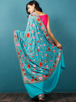 Teal Green Lavender Maroon Aari Embroidered Crepe Silk Saree From Kashmir  - S031703058