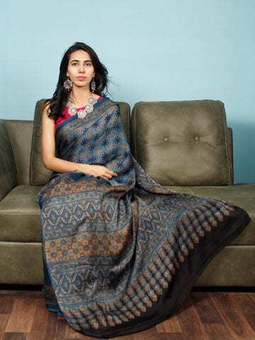 Indigo Rust Black Ajrakh Hand Block Printed Modal Silk Saree in Natural Colors - S031703350