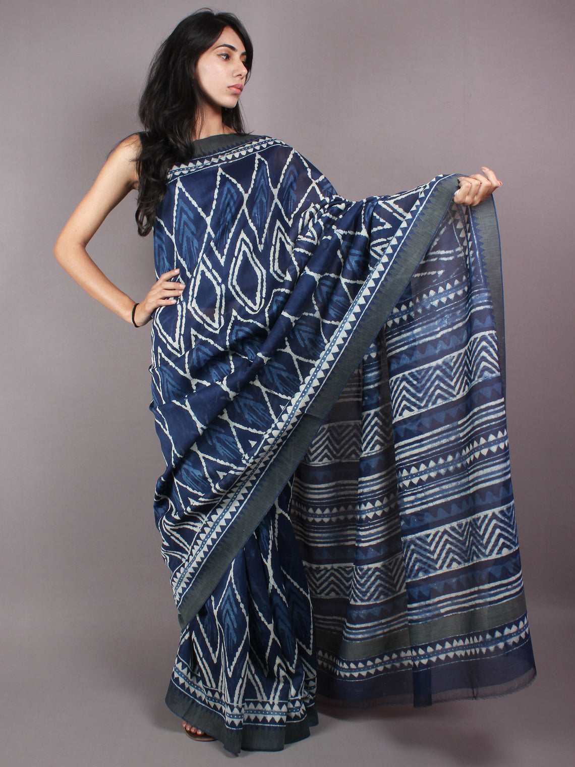 Indigo White Hand Block Printed in Natural Vegetable Colors Chanderi Saree With Geecha Border - S03170299