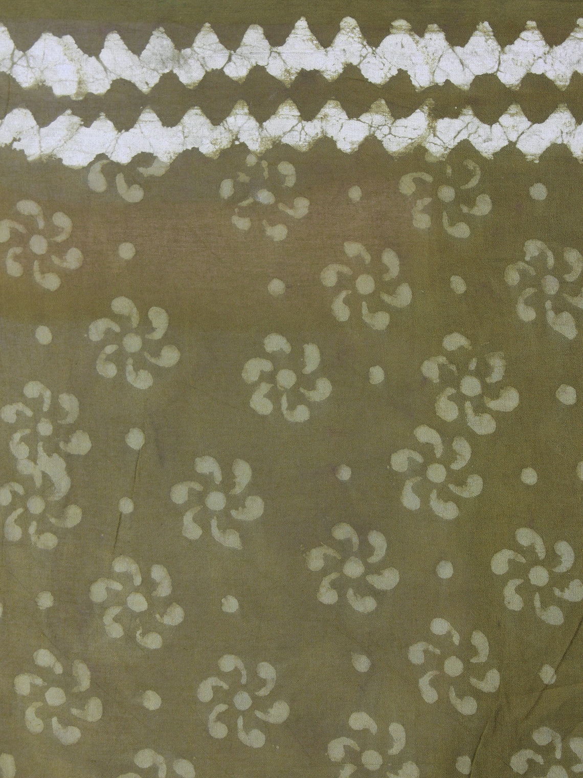 Olive Green White Hand Block Printed in Natural Colors Cotton Mul Saree - S03170420