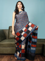 Indigo Red Black  Ivory Ajrakh Hand Block Printed Modal Silk Saree in Natural Colors - S031703351