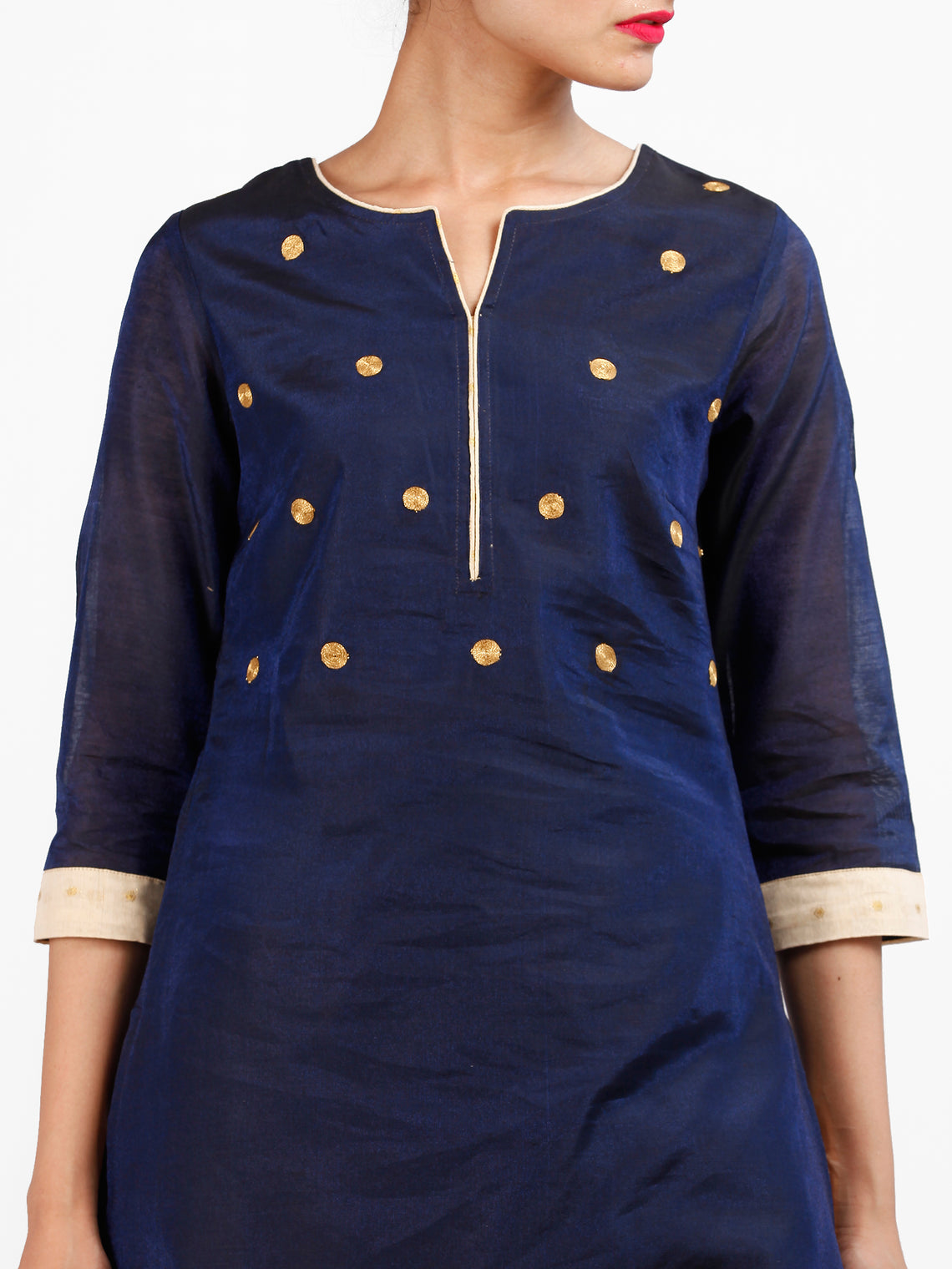 Navy Blue Beige Golden Chanderi  Kurta & Pants Sets  - Set of 2  - SS01F070