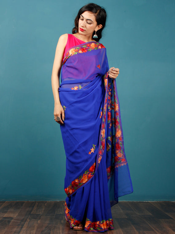 Royal Blue Green Orange Yellow Aari Embroidered Georgette Saree From Kashmir  - S031703060