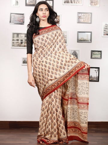 Beige Indigo Rust Black Hand Block Printed Cotton Saree In Natural Colors - S031703339
