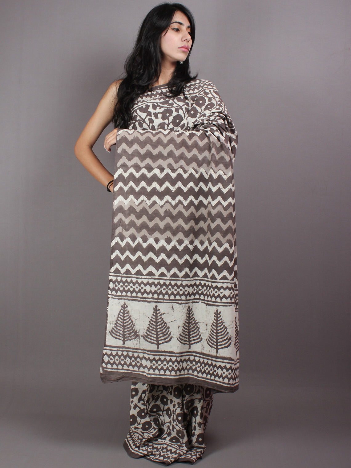 Brown Beige Hand Block Printed in Natural Colors Cotton Mul Saree - S03170421