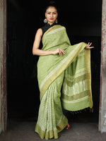 Chartreuse Green White Hand Block Printed Handwoven Linen Saree With Zari Border - S031703595