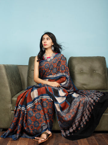 Indigo Red Black Beige Ajrakh Hand Block Printed Modal Silk Saree in Natural Colors - S031703353
