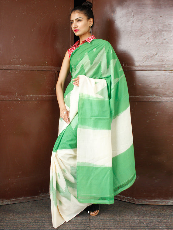 Green Off White Double Ikat Handwoven Cotton Saree - S031703651