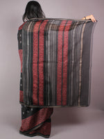 Black Red Hand Block Printed in Natural Vegetable Colors Chanderi Saree With Geecha Border - S03170307