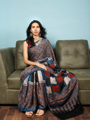Indigo Red Black Beige Ajrakh Hand Block Printed Modal Silk Saree in Natural Colors - S031703381