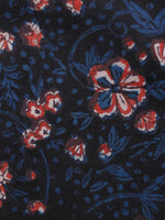 Black Indigo Ivory Red Hand Block Printed Cotton Fabric Per Meter - F001F1819