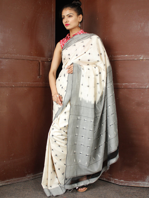 Off White Black Grey Double Ikat Handwoven Cotton Saree - S031703652