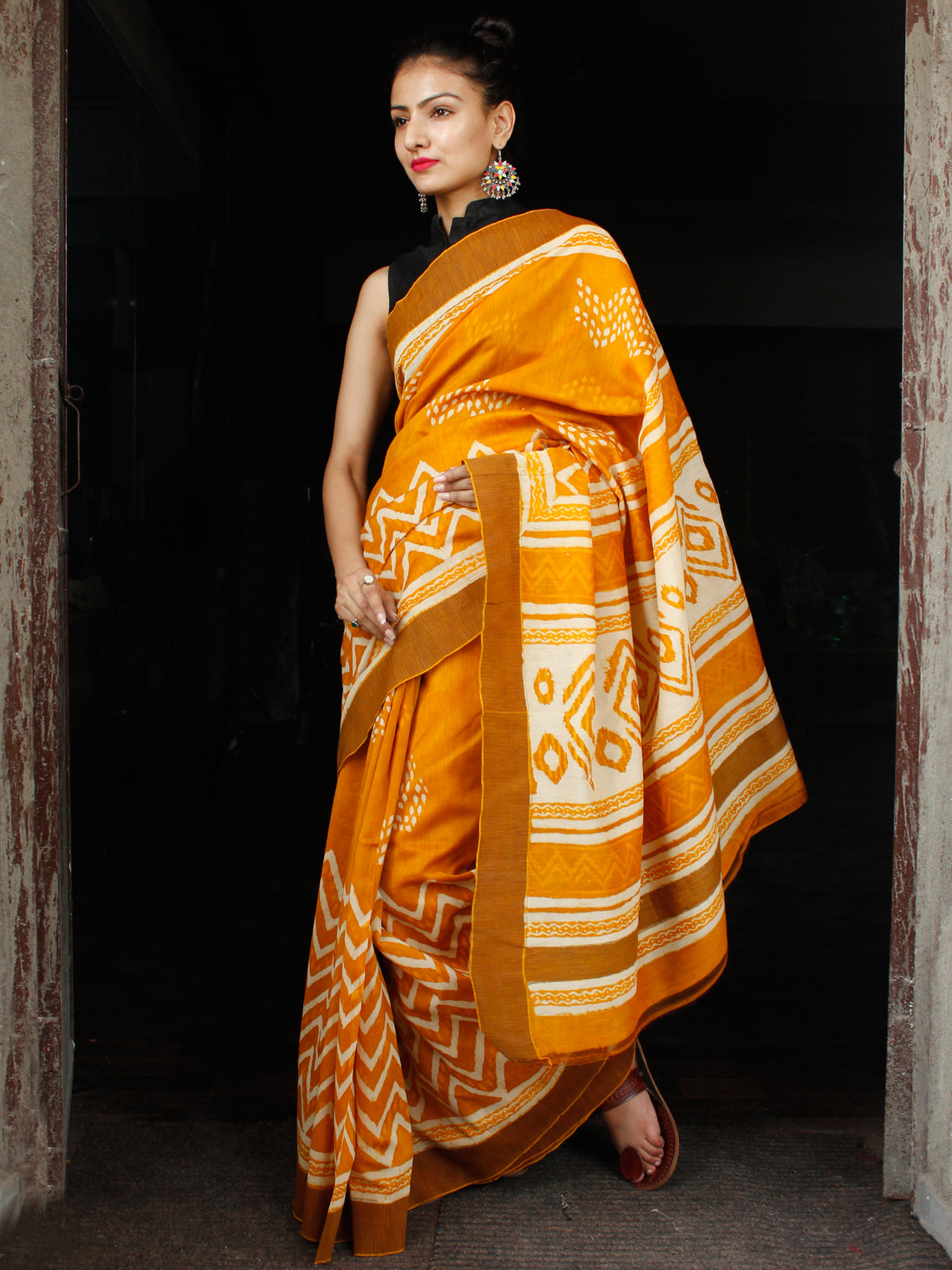 Golden Yellow Ivory Chanderi Silk Hand Block Printed Saree With Geecha Border - S031703597