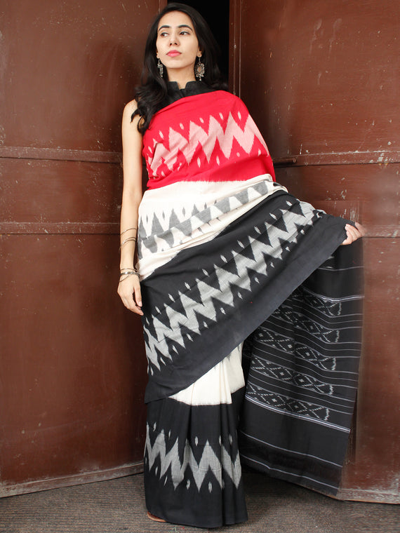 Red Black White Grey Double Ikat Handwoven Cotton Saree - S031703653