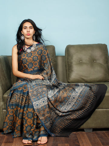 Indigo Rust Ivory Black Ajrakh Hand Block Printed Modal Silk Saree in Natural Colors - S031703355
