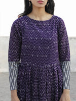 Violet Grey Ivory Hand Woven Cotton Mercerized  Ikat Tier Dress - D175F840