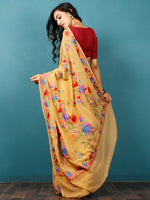Mustard Purple Blue Green Aari Embroidered Georgette Saree From Kashmir  - S031703065