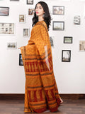 Orange Maroon Black Bagh Printed Maheshwari Cotton Saree - S031703315