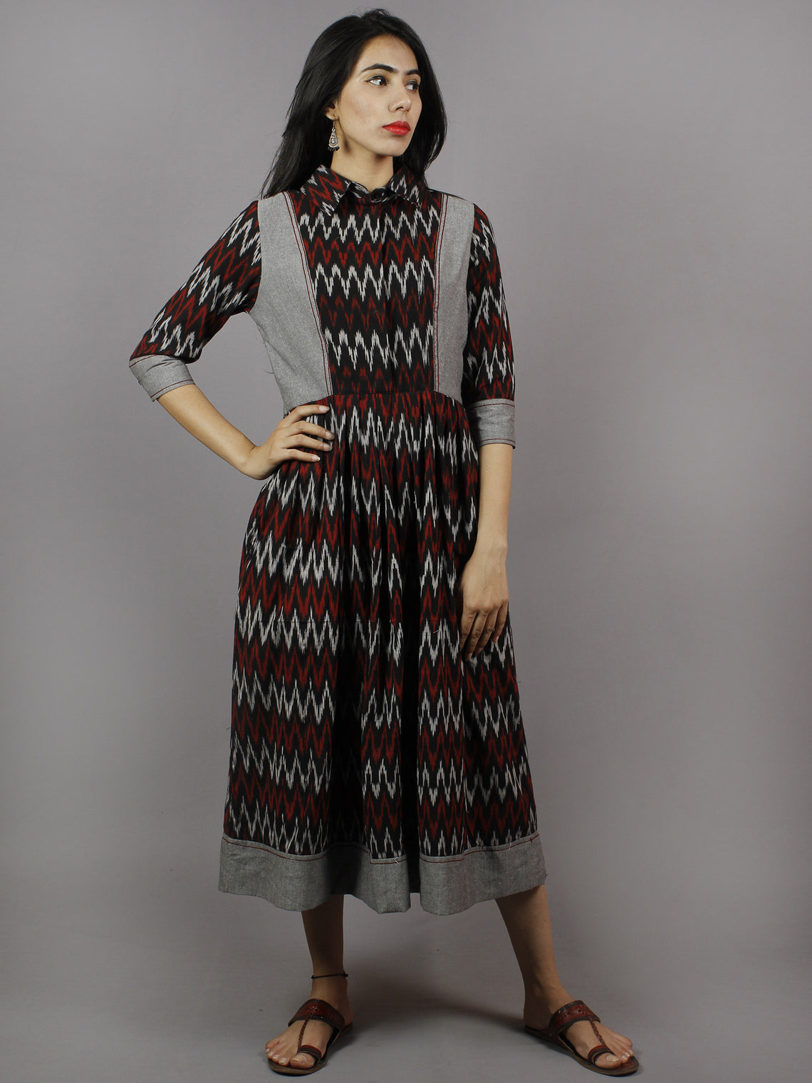 Black Red Grey Ikkat Dress With Side Pockets - D3756801