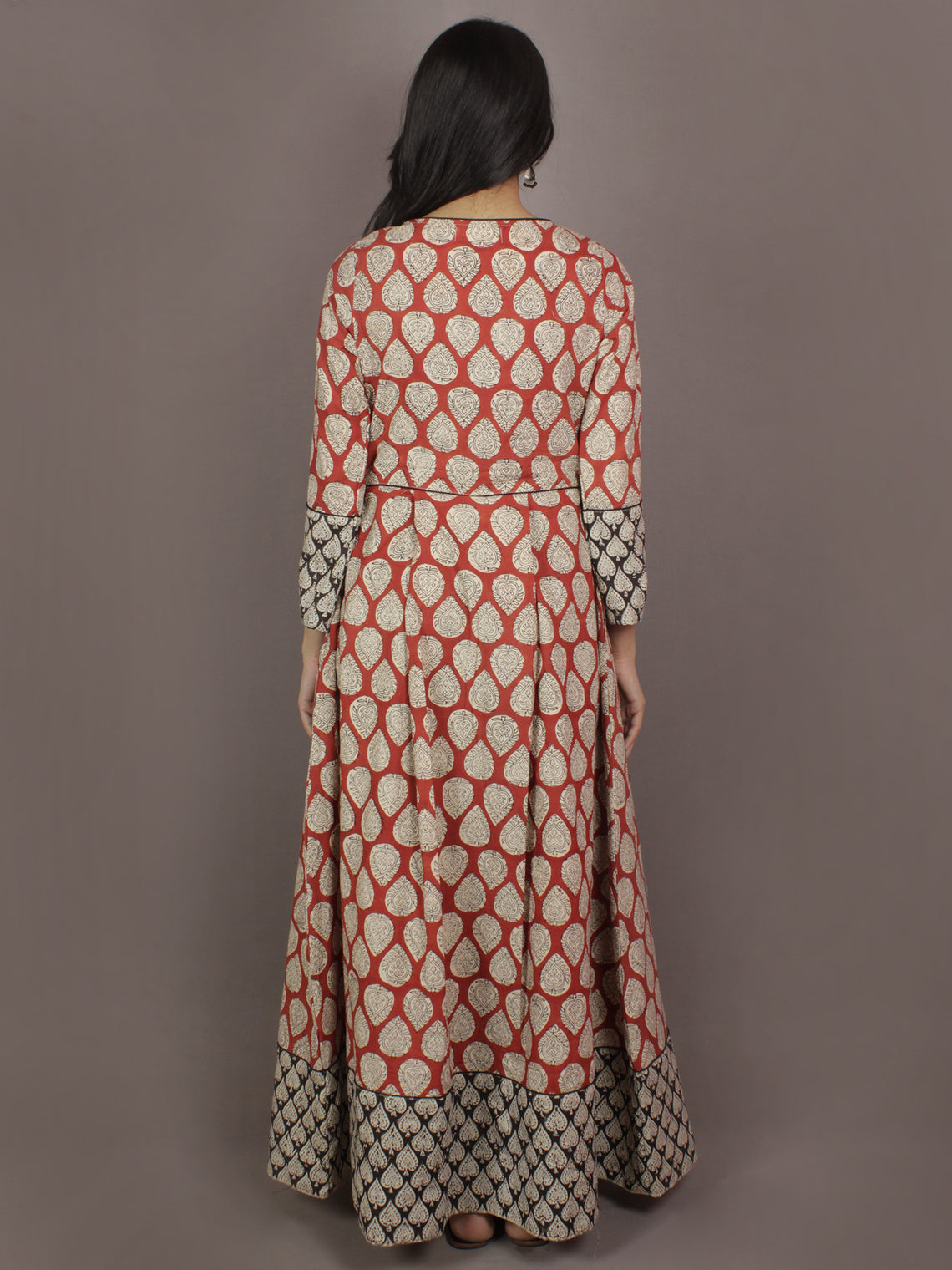 Red Beige Black Hand Block Printed Long Cotton Dress With Box Pleats & Side Pockets - D2522602