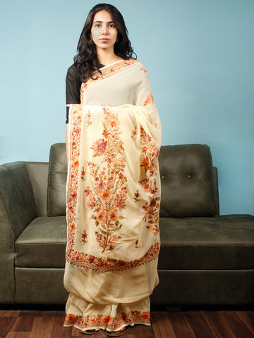Ivory Rust Peach Aari Embroidered Chiffon Saree From Kashmir  - S031704063