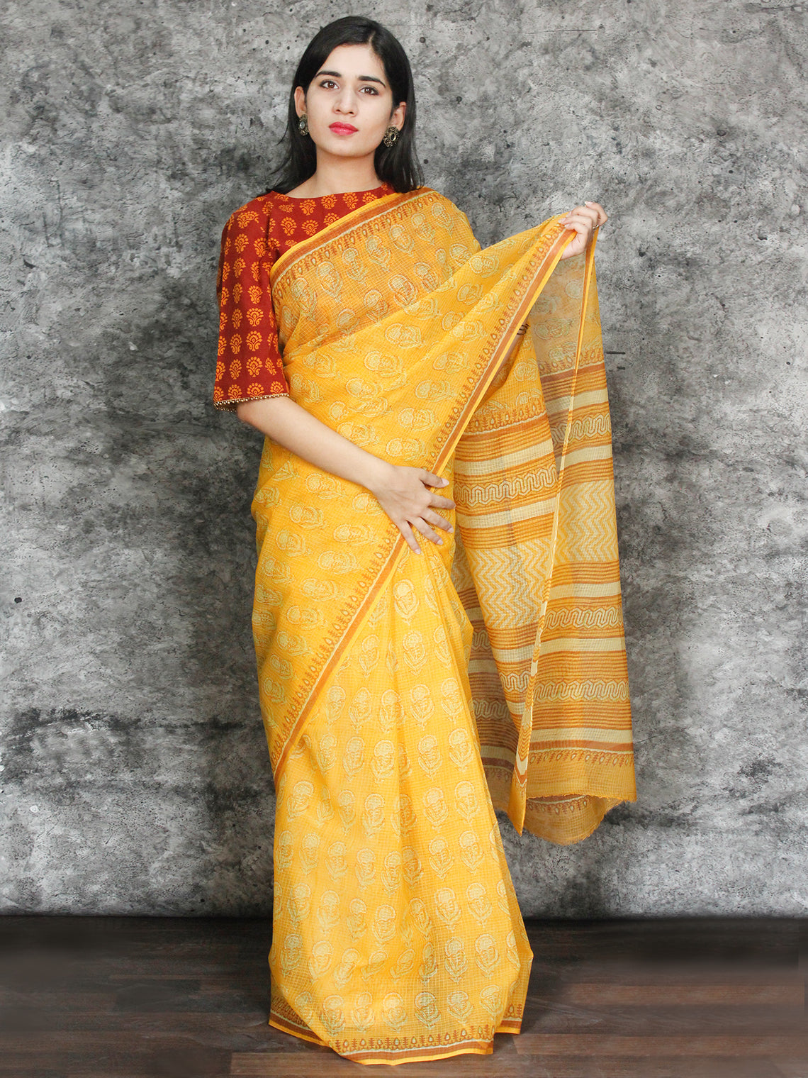 Yellow Orange Ivory Hand Block Printed Kota Doria Saree in Natural Colors - S031703107