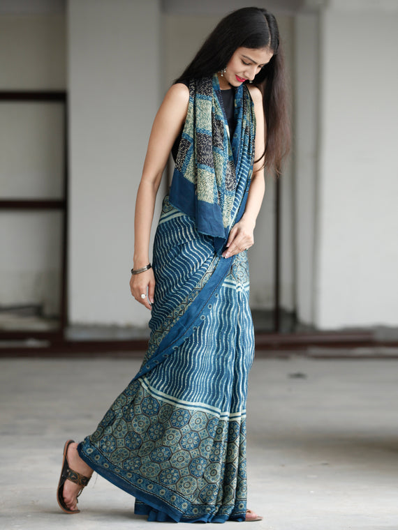 Indigo Fern Green Black Ivory Ajrakh Hand Block Printed Modal Silk Saree in Natural Colors - S031703730