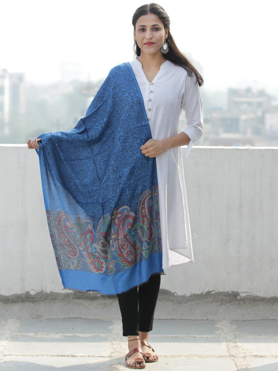 Royal Blue Black Paisly Weaved Border Silk Wool Kashmiri Stole - S200564